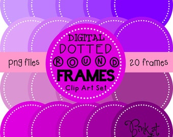 20 png PERFECTLY PURPLE digital dotted round frames!