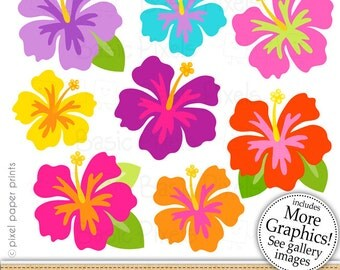 Hibiscus clipart - Happy hibiscus - Clip art - commercial use