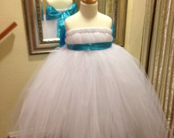 White & Teal flowergirl dress