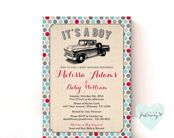 Truck Baby Shower Invitation - Vintage Truck - Typography - Printable OR Printed No.35BABY
