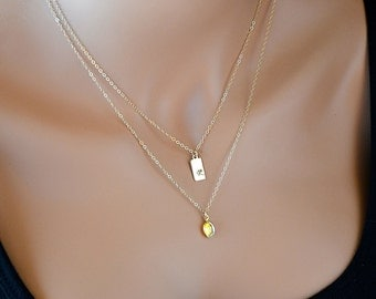 Double Strand Initial Necklace, Layered Gold Necklace, Gold Initial Tag, 14k Gold Fill, Personalized, Aurora Borealis Swarovski Crystal