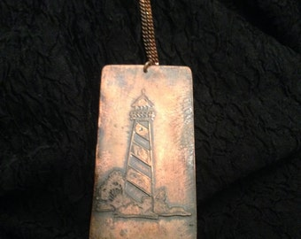 Copper lighthouse pendant
