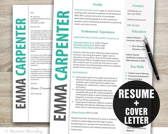teacher resume   photo resume cover letter by businessbrandingclassy resume and cover letter template   resume template   instant download   cv template