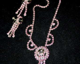 Vintage Pink and grey rhinestone necklace and earrings.  Ca. 1950's