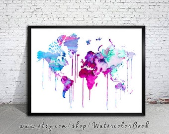 Blue Purple WATERCOLOR MAP, World Map, Watercolor Painting, Watercolor poster, Handmade poster, home decor, Map art, watercolor painting,