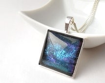 Hand painted Colorshifting Spiral Galaxy Necklace Space Necklace Square necklace Geekery necklace jewelry Nebula necklace Silver necklace