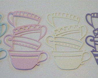 Teacup Die Cuts in a Variety of Color Combinations: Christmas, Fall, Halloween, Pastels