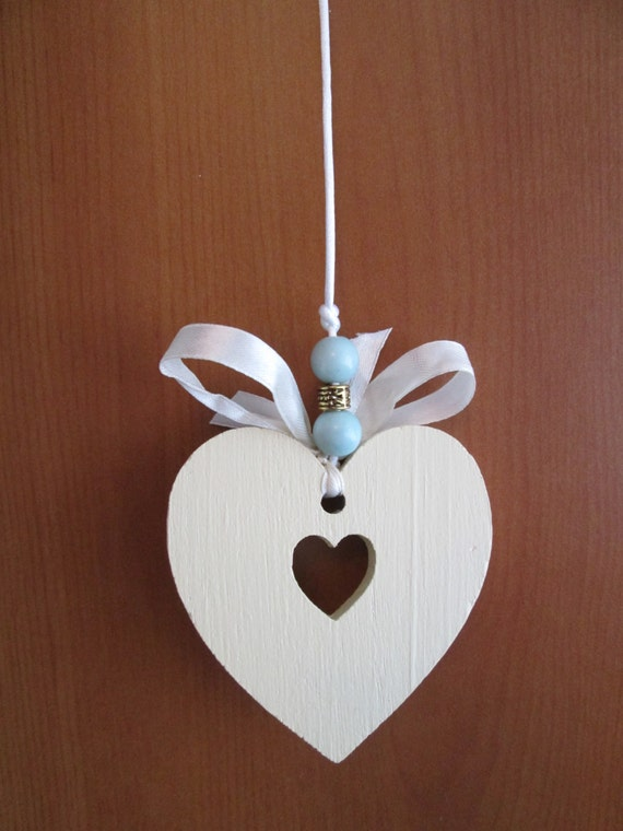 Decorative bathroom light-pull. Wooden double heart design, hand-painted in cream with pale-cream bow and coloured beads - Free postage