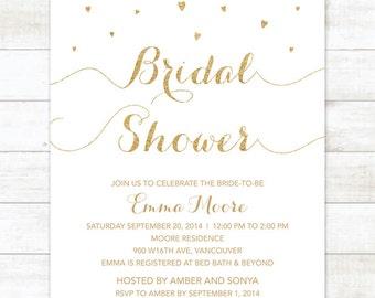 white and gold bridal shower invitation white and gold glitter hearts printable modern chic shower digital invite customizable