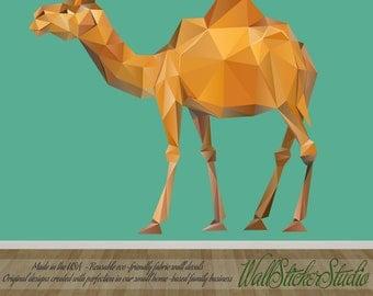 Camel Wall Decal, Pattern Geometric Camel Fabric Wall Decal Stickers, Reusable Wall Decal