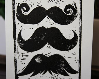 Greeting Card - Blank Note Card - Mustaches - Linocut - 5x7