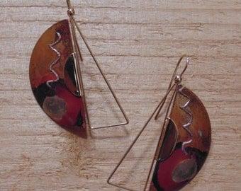 Copper earrings, colored fire