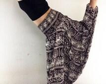Women Harem Pants Yoga Pants Drop Crotch Aladdin Pants Maxi Pants Boho Pants Gypsy pants Jumpsuit Trouser Elephant Pants Brown (HP56)