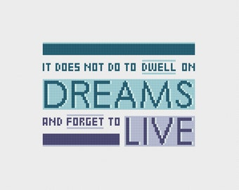 "Harry Potter Albus Dumbledore Quote: ""It Does Not Do To Dwell On Dreams"" Cross Stitch Pattern PDF Instant Download"
