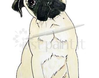 Pug Illustration Instant Download
