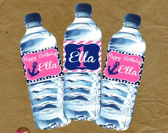 Girls Nautical Birthday Party Water Bottle Wraps - Pink and Blue
