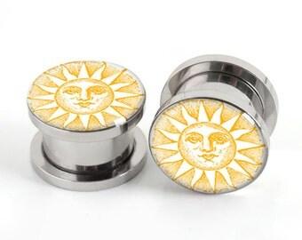 "Sun Face  Ear Plugs Single Flared ( Sizes From 2G Gauge - 1"" Inch ),Yellow Plugs, Sun Jewelry"