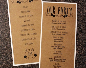 Wedding Programs - Vertical: Rustic Country Chic
