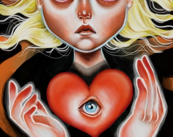 This is my Heart Scamp Art Print 8 x 11 Pretty Big eyed Girl Pop Surrealism