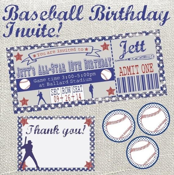 Vintage Baseball Birthday Invitations: Vintage Baseball Birthday Invitation Package. Throw A Grand