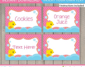 Rubber Duck Food Labels / Duck Food labels / Rubber Duck Birthday Food Tent / Rubber Duck Table Tent / Duck Decoration / INSTANT DOWNLOAD