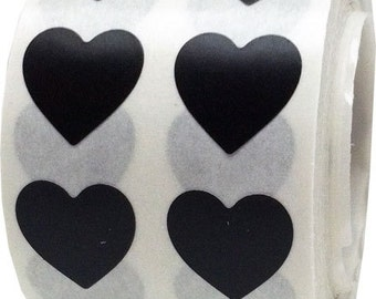 Black Heart Shape Stickers | Small Half Inch Adhesive Heart Stickers | 1,000 Labels