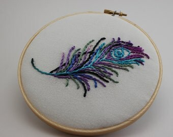 Jewel Tone Peacock Feather Hand Embroidered Hoop Art. Modern Wall Hanging. Made to Order