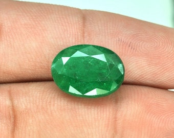 5.50 Cts Huge Rare Genuine Natural Top Green Green Emerald Oval Cut Brazil Gemstone