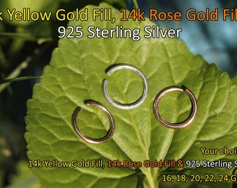 14K Small Gold Filled Hoop Earring 6mm Endless/Seamless/Cartilage/Tragus/Helix/Catchless/Nose Ring