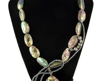 """Green Couture sea shell, fresh water pearl, labrodite, glass and silver necklace, 22"""""""