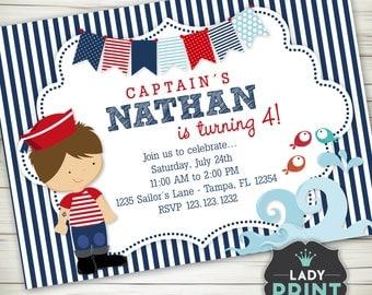 Little Sailor Boy Birthday Invitation. Nautical Printable invitation. Digital File Customized Party Invitation
