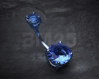 Colorline Gem Prong Sparkle Belly Button Ring - Blue