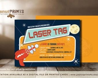 Laser Tag Birthday Party Invitation - Printed OR Digital File - by peanutPRINTS