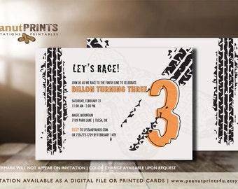 Racing Birthday Party Invitation - Printed OR Digital File - by peanutPRINTS