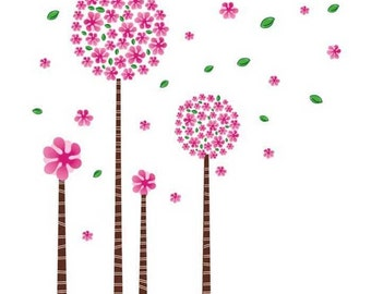 Pink trees wall decal - Cherry blossom trees wall sticker