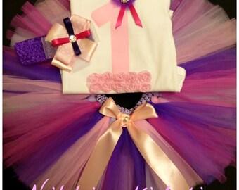 First Birthday Pink, Purple, hot pink tutu set