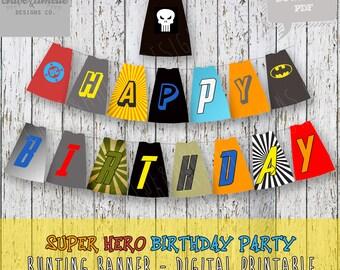 Super hero Capes Birthday Banner - Digital Printable Happy Birthday Banner - batman, INSTANT DOWNLOAD