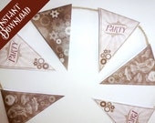 Steampunk printable Party Bunting - 2 sizes - party garland decoration instant download