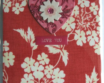 Love You Red Floral Fabric card