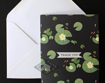 Koi Pond w/ Lily Pads Illustrative Modern Thank You Card, Sophisticated Thanks