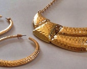 Fitbit Necklace and Earring Jewelry Set for FitBit Flex - JESSICA Hammered Gold Fitbit Jewelry - FREE SHIPPING
