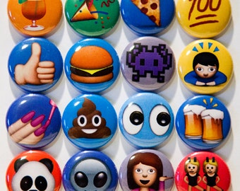 "Set of 16 Emoji  1"" Pinback Buttons"