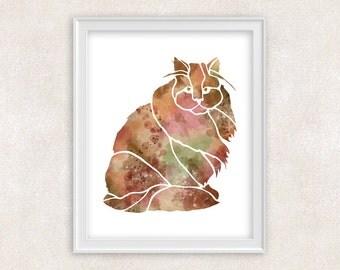 Cat Art Print - Watercolor - 8x10 - Home Decor - Wall Art 8x10 PRINT - Item #704A