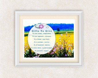 Gifts To Give Quote Art - Meadow of Flowers - 8x10 Art Print - Yellow - Blue - Wall Art - Home Decor - Office Art - Item #539