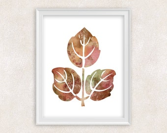 Autumn Leaves Watercolor Print - Fall Art - Home Decor 8x10 PRINT - Item #732A