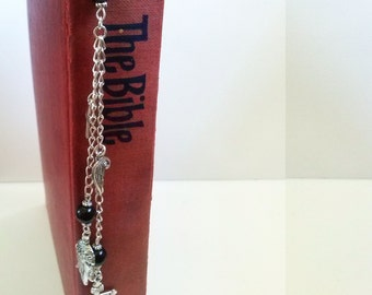 Silver Cross Bookmark , Christian Bookmark , Bible Bookmark , Onyx Bead Bookmark , Jesus Cross , Handmade Gift , Handmade Christian Gift