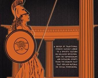 Literary Art Print. Mythology - Literary Genre. Educational Classroom Poster