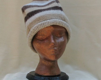Multi Brown colored striped hat from 100% recycled wool