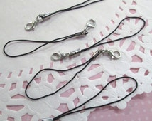 Black Cell Phone Straps with clasp 15 pcs, #856