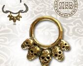 """Ornate 14g (1.6mm) Antiqued Tribal 5 Skulls Brass Septum Nose Piercing 3/8"""" ring diameter 9mm 18mm length Brass filigree"""